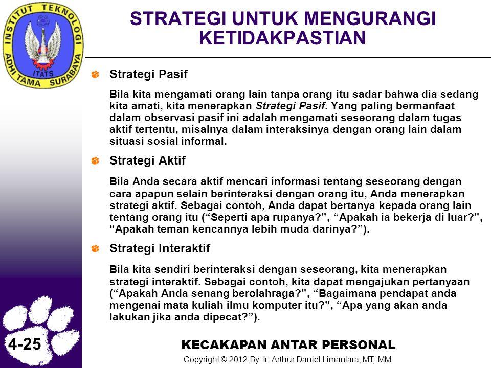 KECAKAPAN ANTAR PERSONAL Copyright © 2012 By. Ir. Arthur Daniel Limantara, MT, MM. 4-25 STRATEGI UNTUK MENGURANGI KETIDAKPASTIAN Strategi Pasif Bila k