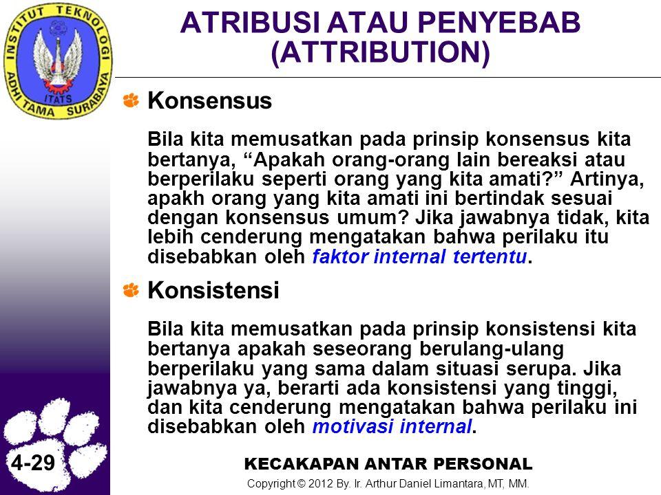 KECAKAPAN ANTAR PERSONAL Copyright © 2012 By. Ir. Arthur Daniel Limantara, MT, MM. 4-29 ATRIBUSI ATAU PENYEBAB (ATTRIBUTION) Konsensus Bila kita memus