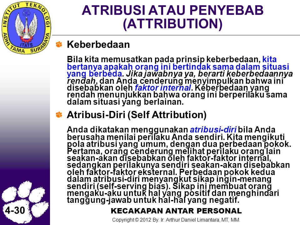 KECAKAPAN ANTAR PERSONAL Copyright © 2012 By. Ir. Arthur Daniel Limantara, MT, MM. 4-30 ATRIBUSI ATAU PENYEBAB (ATTRIBUTION) Keberbedaan Bila kita mem
