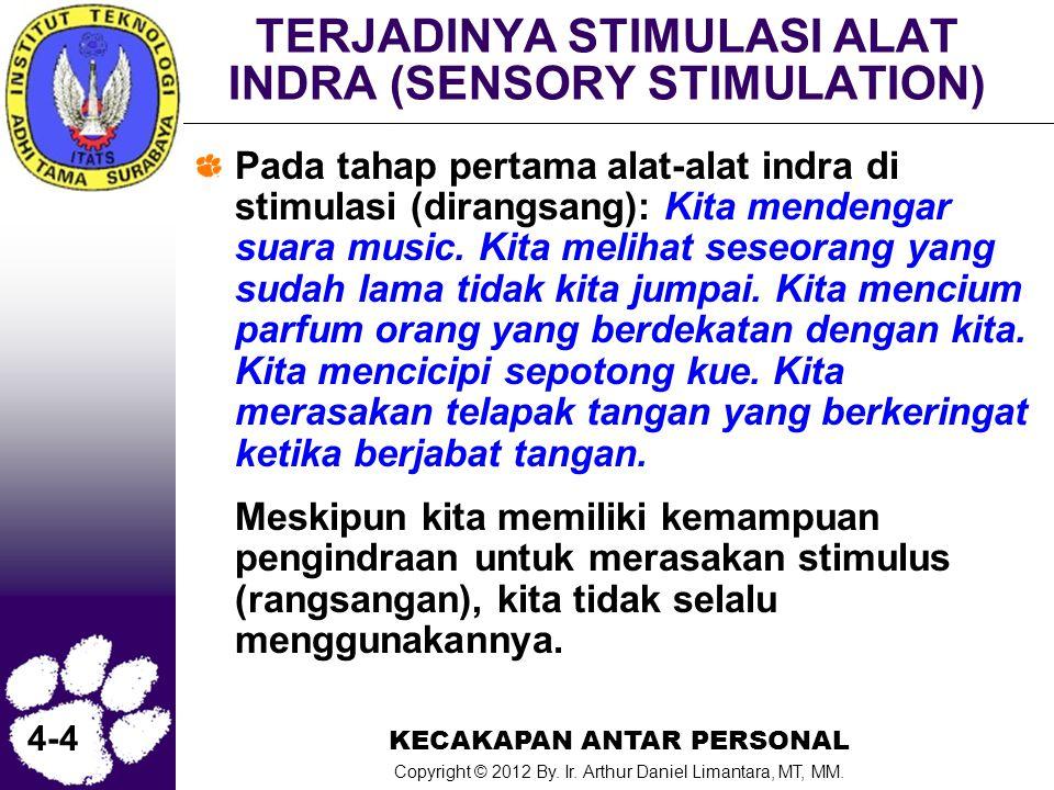 KECAKAPAN ANTAR PERSONAL Copyright © 2012 By. Ir. Arthur Daniel Limantara, MT, MM. 4-4 TERJADINYA STIMULASI ALAT INDRA (SENSORY STIMULATION) Pada taha
