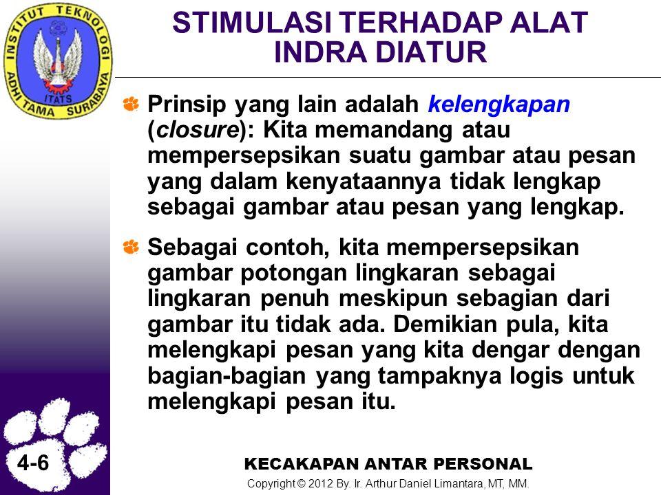 KECAKAPAN ANTAR PERSONAL Copyright © 2012 By. Ir. Arthur Daniel Limantara, MT, MM. 4-6 STIMULASI TERHADAP ALAT INDRA DIATUR Prinsip yang lain adalah k
