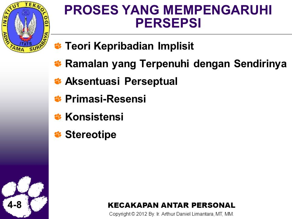 KECAKAPAN ANTAR PERSONAL Copyright © 2012 By. Ir. Arthur Daniel Limantara, MT, MM. 4-8 PROSES YANG MEMPENGARUHI PERSEPSI Teori Kepribadian Implisit Ra