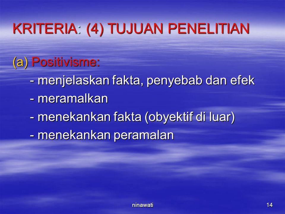 ninawati14 KRITERIA: (4) TUJUAN PENELITIAN (a)Positivisme: - menjelaskan fakta, penyebab dan efek - menjelaskan fakta, penyebab dan efek - meramalkan