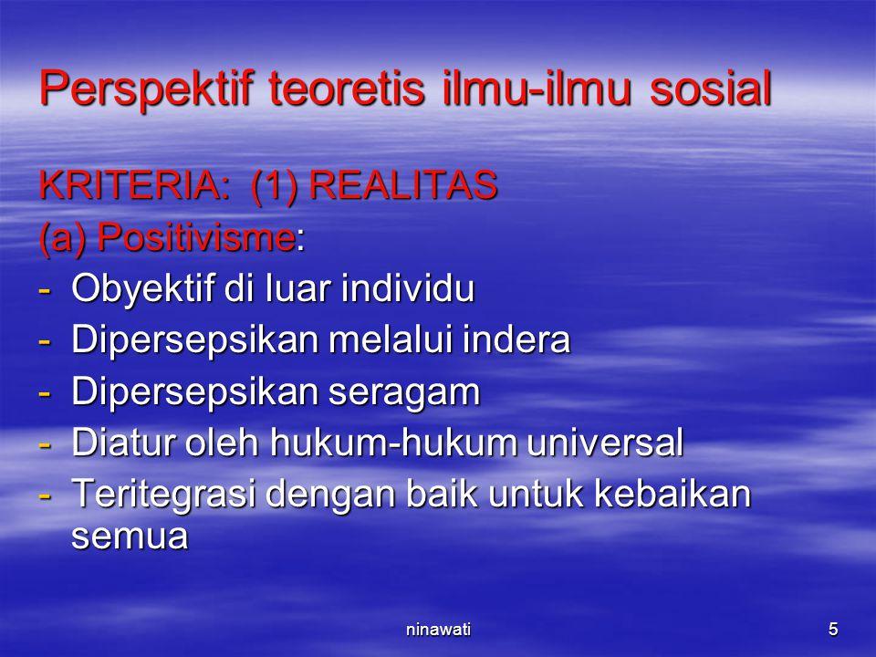 ninawati5 Perspektif teoretis ilmu-ilmu sosial KRITERIA: (1) REALITAS (a) Positivisme: -Obyektif di luar individu -Dipersepsikan melalui indera -Diper