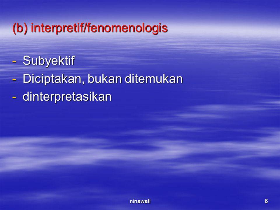 ninawati6 (b) interpretif/fenomenologis -Subyektif -Diciptakan, bukan ditemukan -dinterpretasikan