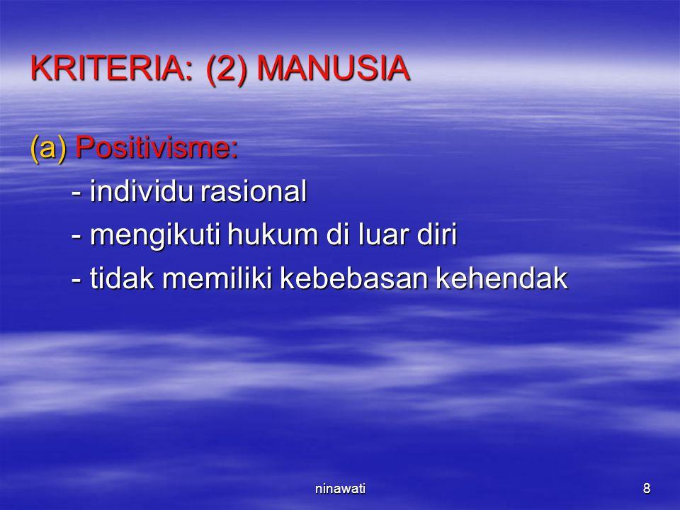 ninawati8 KRITERIA: (2) MANUSIA (a)Positivisme: - individu rasional - individu rasional - mengikuti hukum di luar diri - mengikuti hukum di luar diri