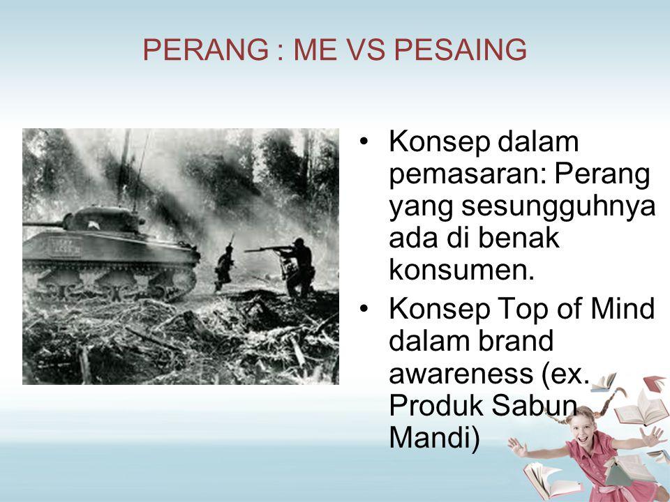 PERANG : ME VS PESAING Konsep dalam pemasaran: Perang yang sesungguhnya ada di benak konsumen. Konsep Top of Mind dalam brand awareness (ex. Produk Sa