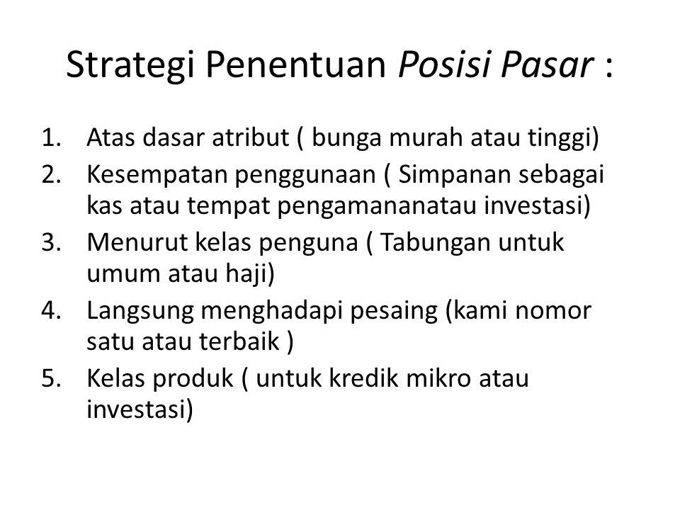 Strategi Penentuan Posisi Pasar : 1.Atas dasar atribut ( bunga murah atau tinggi) 2.Kesempatan penggunaan ( Simpanan sebagai kas atau tempat pengamana