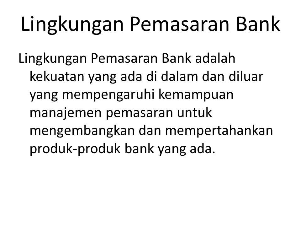 Lingkungan Pemasaran Bank Lingkungan Pemasaran Bank adalah kekuatan yang ada di dalam dan diluar yang mempengaruhi kemampuan manajemen pemasaran untuk