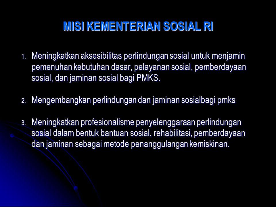MISI KEMENTERIAN SOSIAL RI 1. Meningkatkan aksesibilitas perlindungan sosial untuk menjamin pemenuhan kebutuhan dasar, pelayanan sosial, pemberdayaan