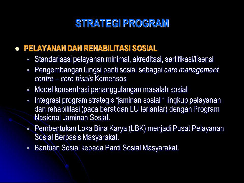 STRATEGI PROGRAM PELAYANAN DAN REHABILITASI SOSIAL PELAYANAN DAN REHABILITASI SOSIAL  Standarisasi pelayanan minimal, akreditasi, sertifikasi/lisensi