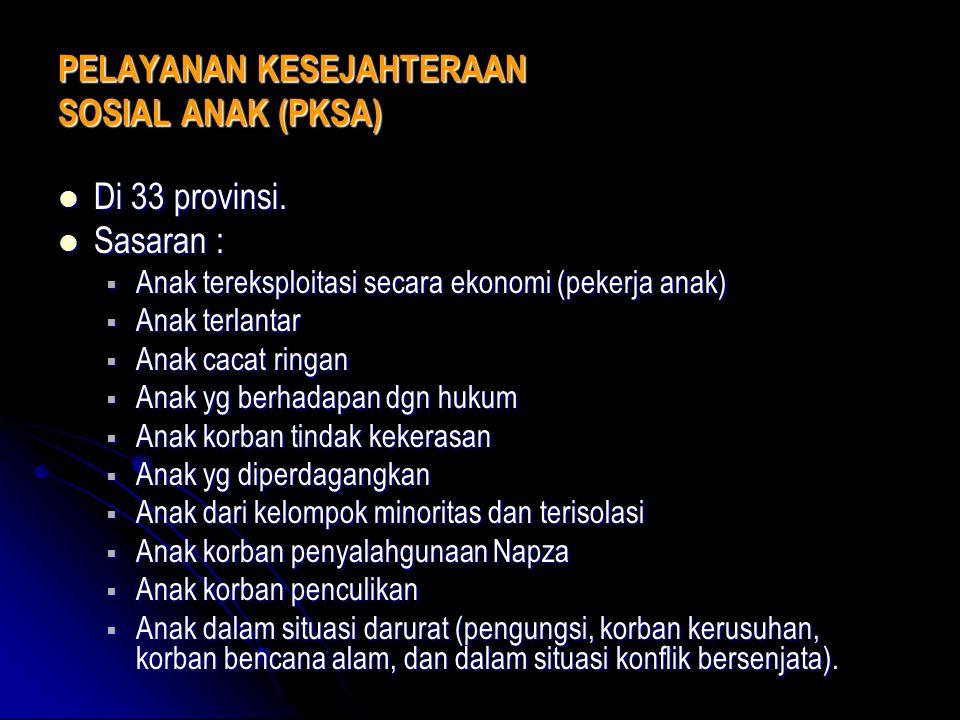 PELAYANAN KESEJAHTERAAN SOSIAL ANAK (PKSA) Di 33 provinsi. Di 33 provinsi. Sasaran : Sasaran :  Anak tereksploitasi secara ekonomi (pekerja anak)  A