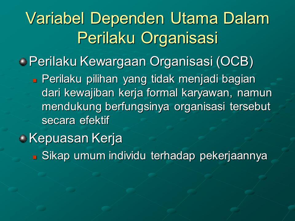 Variabel Dependen Utama Dalam Perilaku Organisasi Perilaku Kewargaan Organisasi (OCB) Perilaku pilihan yang tidak menjadi bagian dari kewajiban kerja