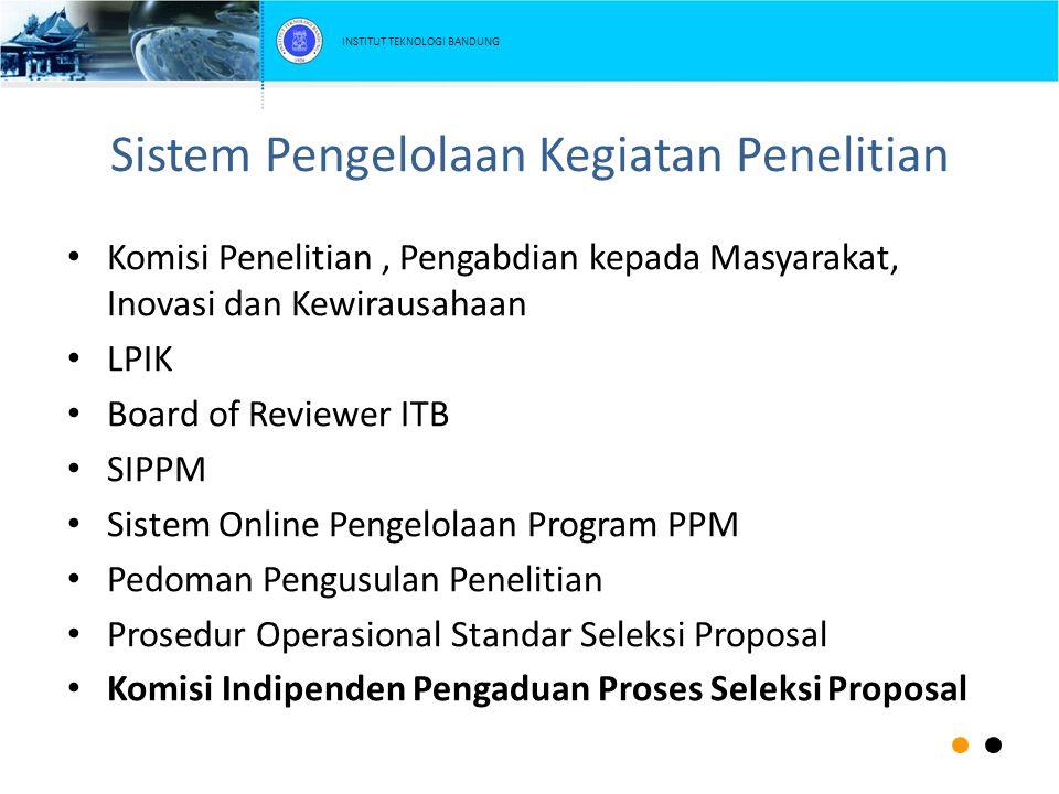 Sistem Pengelolaan Kegiatan Penelitian Komisi Penelitian, Pengabdian kepada Masyarakat, Inovasi dan Kewirausahaan LPIK Board of Reviewer ITB SIPPM Sis