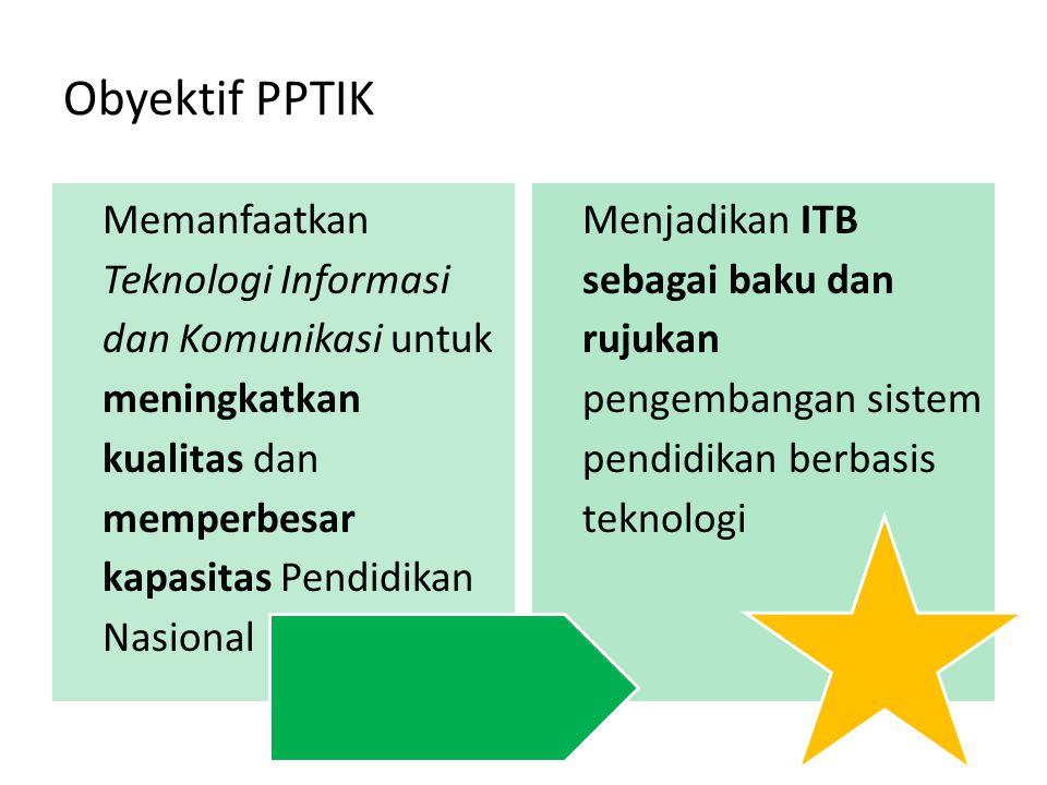 Obyektif PPTIK Memanfaatkan Teknologi Informasi dan Komunikasi untuk meningkatkan kualitas dan memperbesar kapasitas Pendidikan Nasional Menjadikan IT