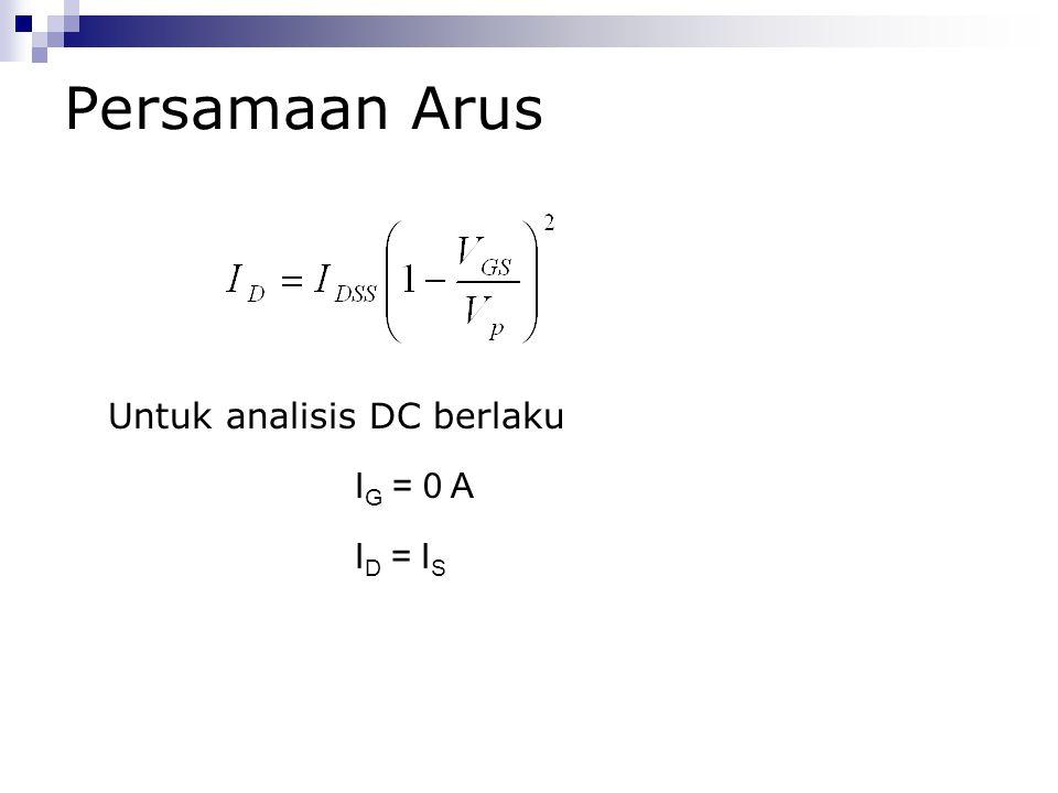 Persamaan Arus Untuk analisis DC berlaku I G = 0 A I D = I S