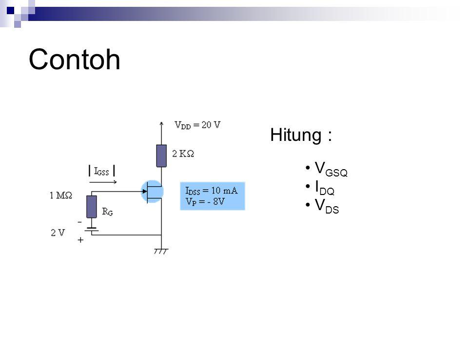V GSQ =- V GG = -2 V (karena IG = 0) I DQ =5,625 mA V DS =8,75 V