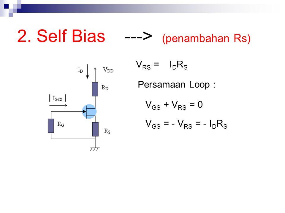2. Self Bias ---> (penambahan Rs) V RS = I D R S Persamaan Loop : V GS + V RS = 0 V GS = - V RS = - I D R S