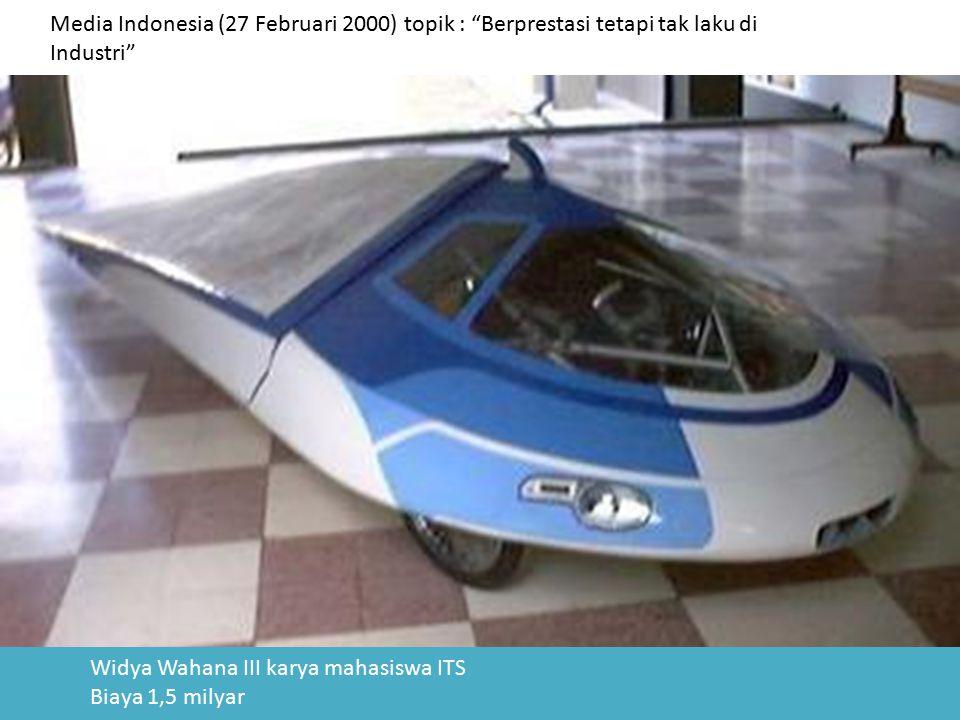 """Media Indonesia (27 Februari 2000) topik : """"Berprestasi tetapi tak laku di Industri"""" Widya Wahana III karya mahasiswa ITS Biaya 1,5 milyar"""