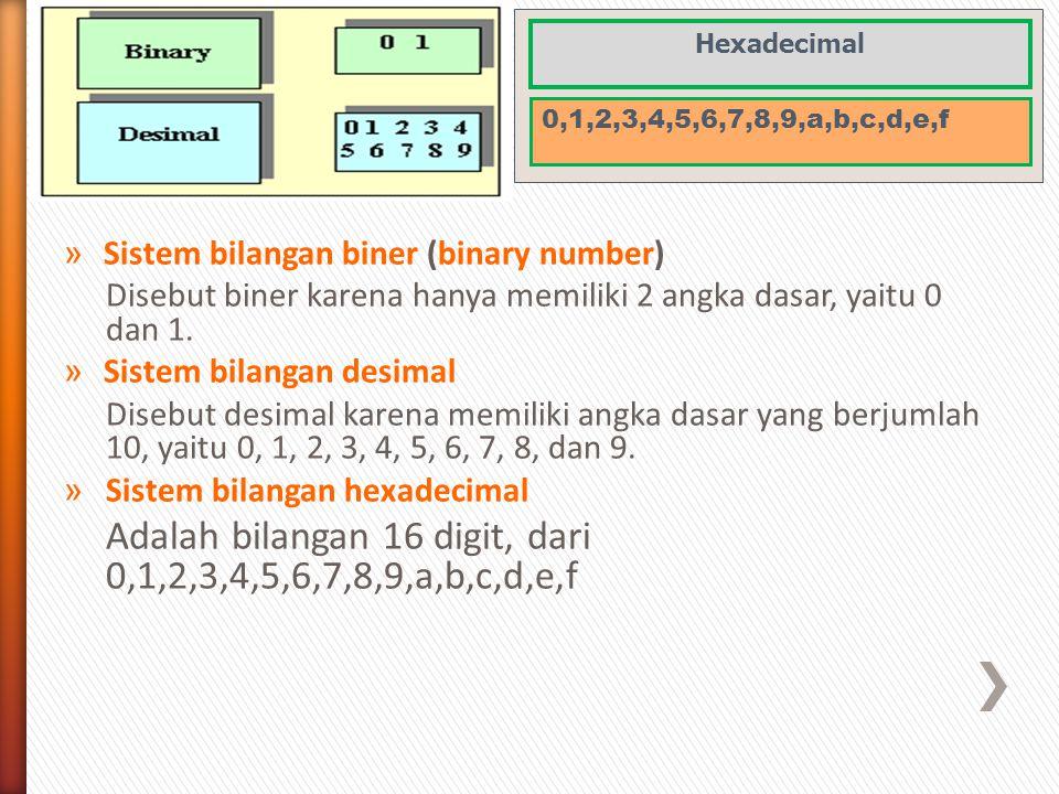 » Sistem bilangan biner (binary number) Disebut biner karena hanya memiliki 2 angka dasar, yaitu 0 dan 1. » Sistem bilangan desimal Disebut desimal ka