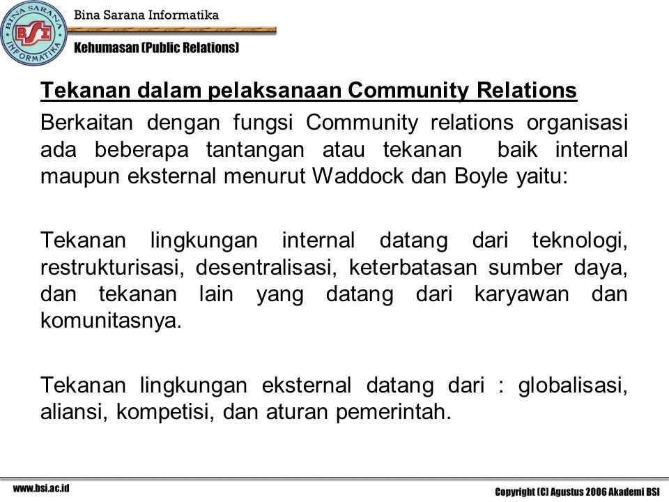 Tekanan dalam pelaksanaan Community Relations Berkaitan dengan fungsi Community relations organisasi ada beberapa tantangan atau tekanan baik internal