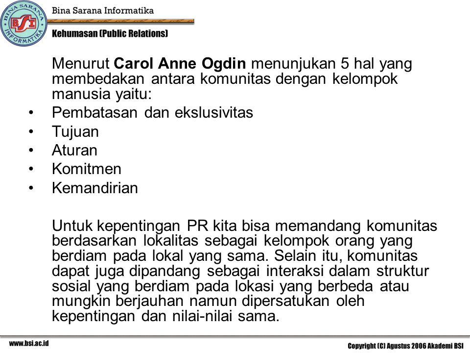 Menurut Carol Anne Ogdin menunjukan 5 hal yang membedakan antara komunitas dengan kelompok manusia yaitu: Pembatasan dan ekslusivitas Tujuan Aturan Ko