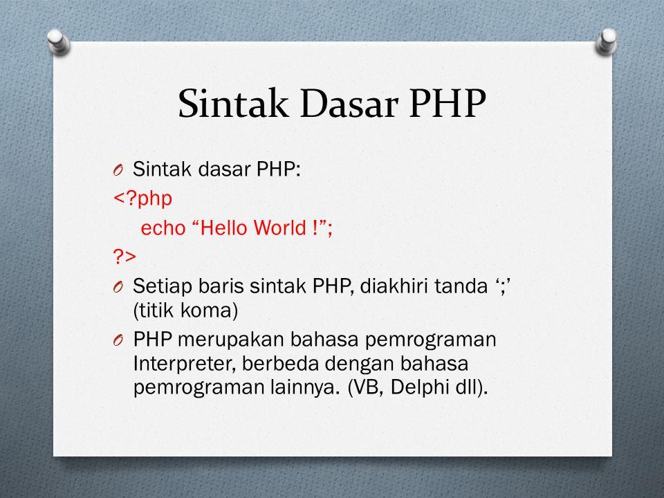 Sintak Dasar PHP O Sintak dasar PHP: <?php echo Hello World ! ; ?> O Setiap baris sintak PHP, diakhiri tanda ';' (titik koma) O PHP merupakan bahasa pemrograman Interpreter, berbeda dengan bahasa pemrograman lainnya.