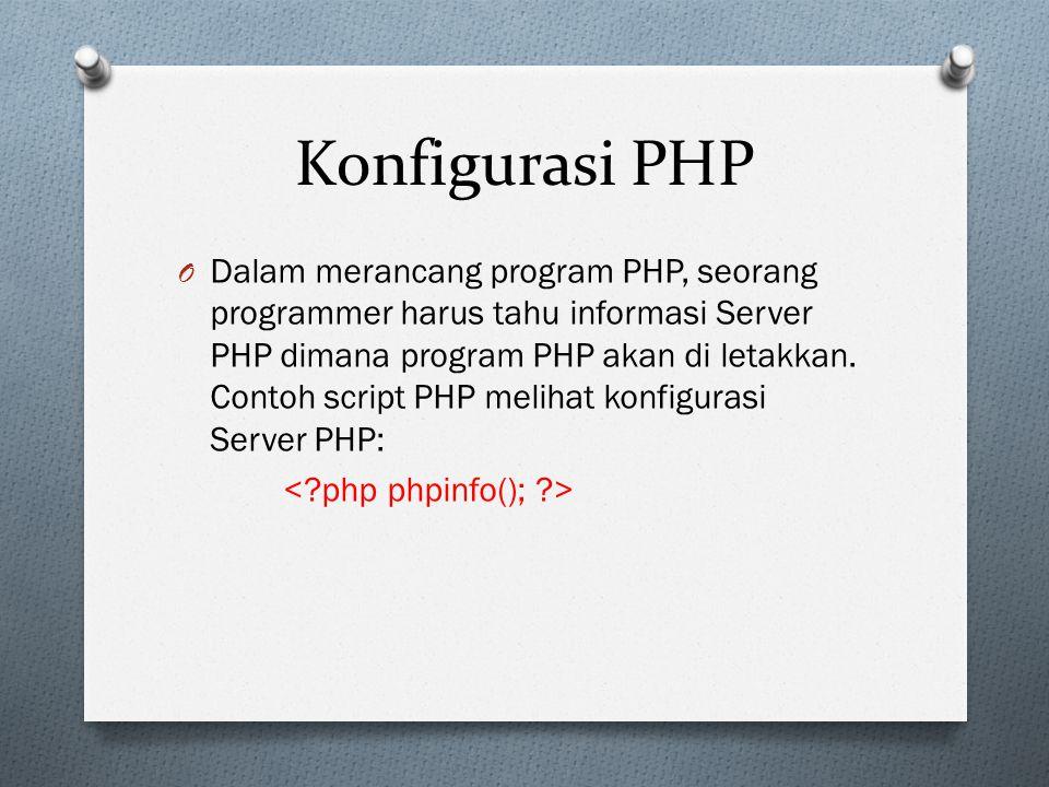 Konfigurasi PHP O Dalam merancang program PHP, seorang programmer harus tahu informasi Server PHP dimana program PHP akan di letakkan.