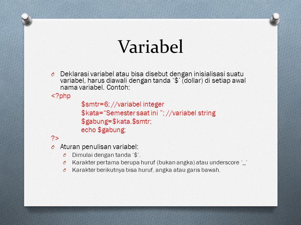 Variabel O Deklarasi variabel atau bisa disebut dengan inisialisasi suatu variabel, harus diawali dengan tanda '$' (dollar) di setiap awal nama variabel.