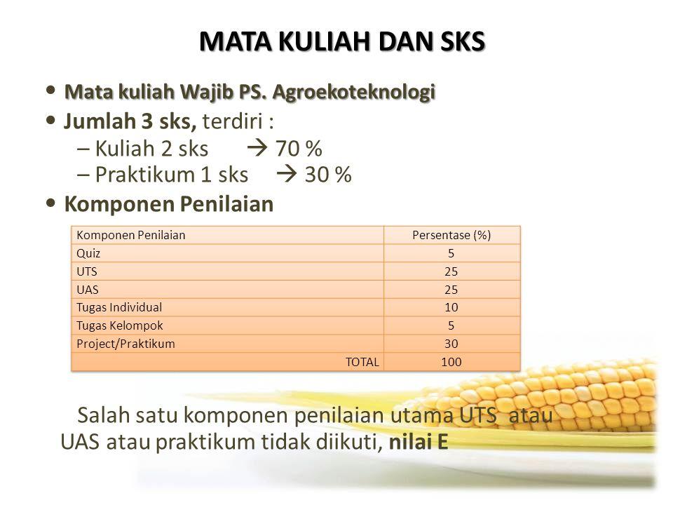 MATA KULIAH DAN SKS Mata kuliah Wajib PS. Agroekoteknologi Jumlah 3 sks, terdiri : – Kuliah 2 sks  70 % – Praktikum 1 sks  30 % Komponen Penilaian S