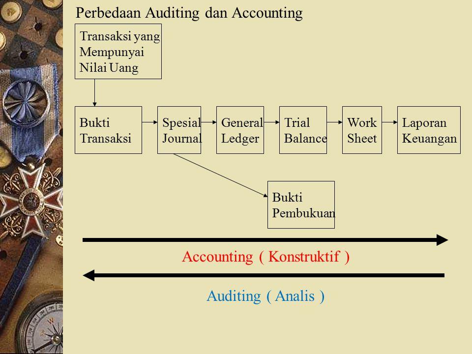 Perbedaan Auditing dan Accounting Accounting ( Konstruktif ) Transaksi yang Mempunyai Nilai Uang Bukti Transaksi Spesial Journal General Ledger Trial