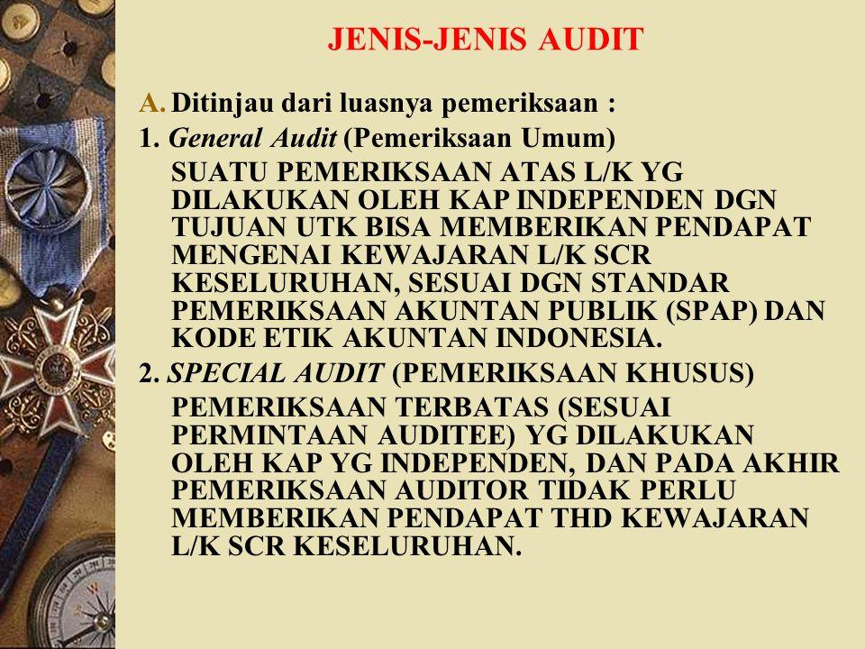 JENIS-JENIS AUDIT A.Ditinjau dari luasnya pemeriksaan : 1. General Audit (Pemeriksaan Umum) SUATU PEMERIKSAAN ATAS L/K YG DILAKUKAN OLEH KAP INDEPENDE