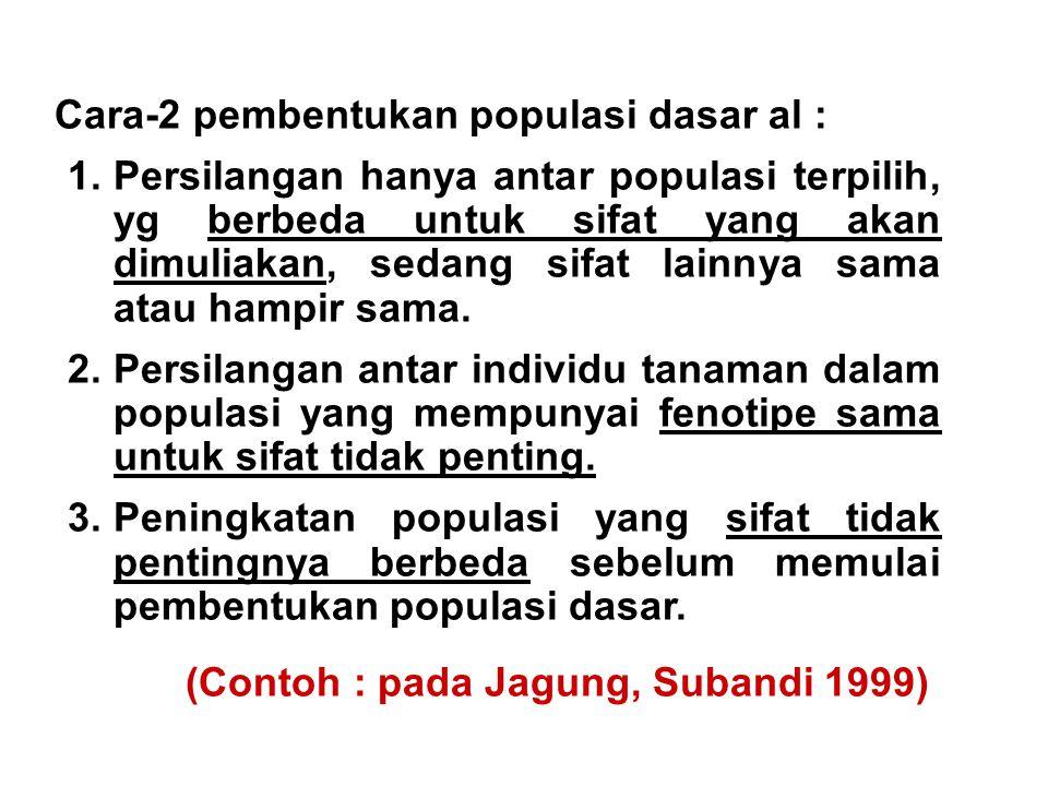 Cara-2 pembentukan populasi dasar al : 1.Persilangan hanya antar populasi terpilih, yg berbeda untuk sifat yang akan dimuliakan, sedang sifat lainnya
