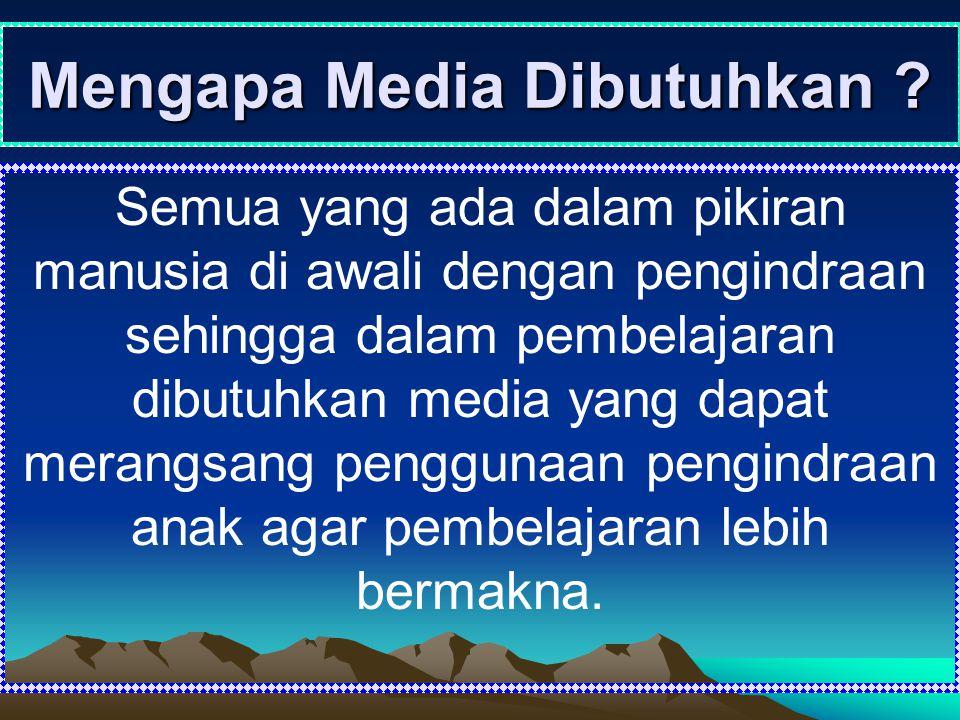 Mengapa Media Dibutuhkan ? Semua yang ada dalam pikiran manusia di awali dengan pengindraan sehingga dalam pembelajaran dibutuhkan media yang dapat me