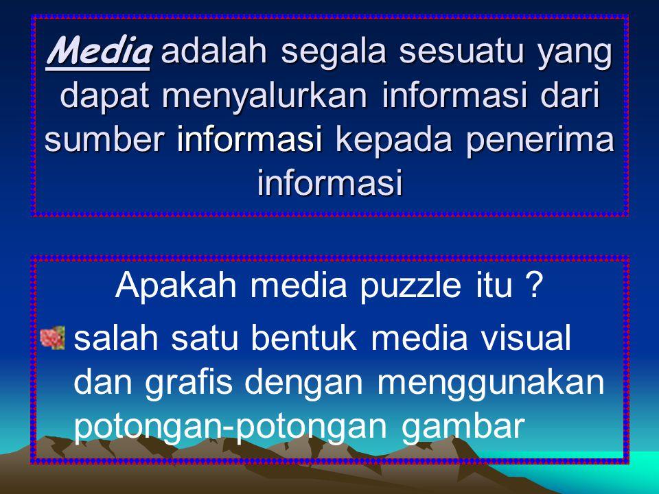 Media adalah segala sesuatu yang dapat menyalurkan informasi dari sumber informasi kepada penerima informasi Apakah media puzzle itu ? salah satu bent