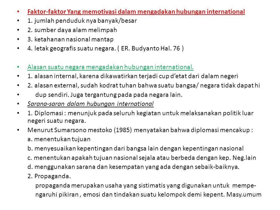 Faktor-faktor Yang memotivasi dalam mengadakan hubungan international 1.