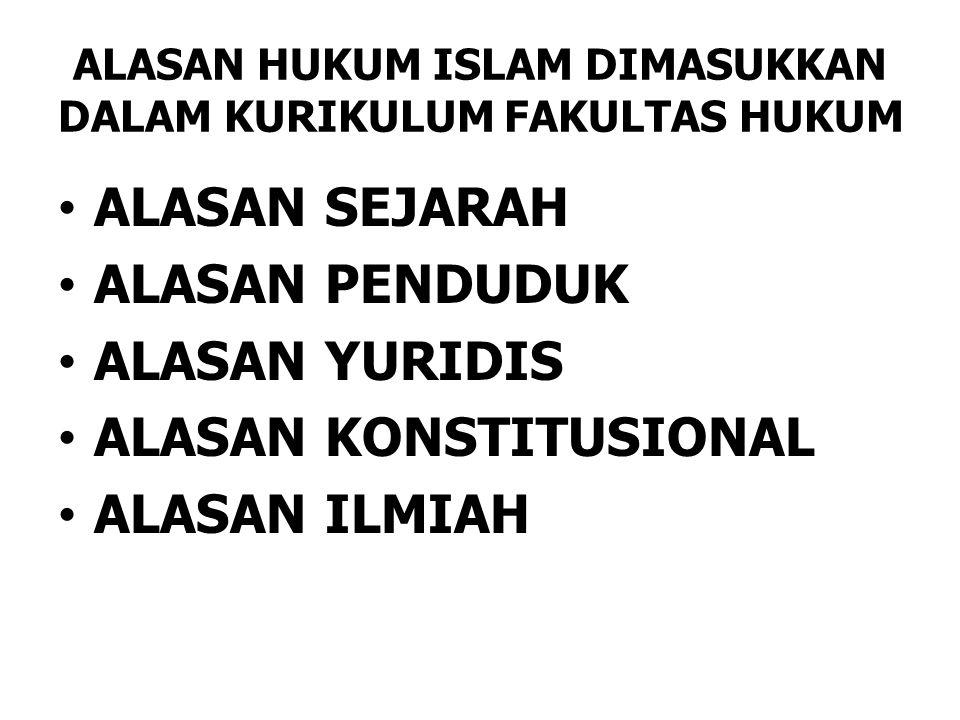 ALASAN HUKUM ISLAM DIMASUKKAN DALAM KURIKULUM FAKULTAS HUKUM ALASAN SEJARAH ALASAN PENDUDUK ALASAN YURIDIS ALASAN KONSTITUSIONAL ALASAN ILMIAH
