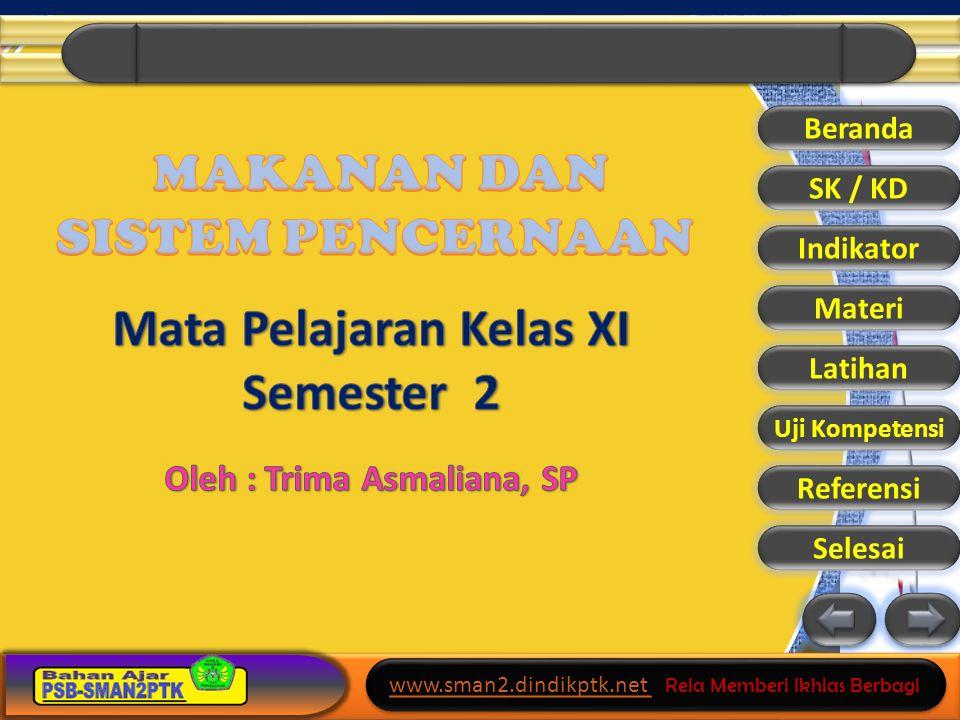 www.sman2.dindikptk.net www.sman2.dindikptk.net Rela Memberi Ikhlas Berbagi www.sman2.dindikptk.net www.sman2.dindikptk.net Rela Memberi Ikhlas Berbagi Beranda SK / KD Indikator Materi Latihan Uji Kompetensi Referensi Selesai Proses Pencernaan Pencernaan enzimatis Pencernaan mekanis