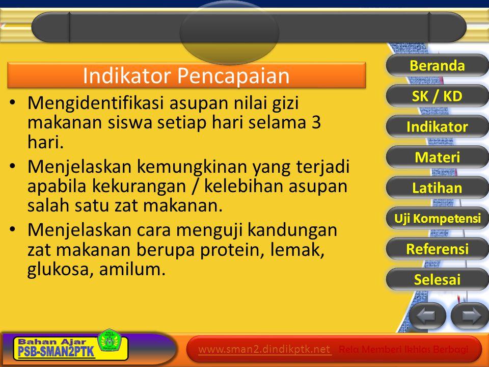 www.sman2.dindikptk.net www.sman2.dindikptk.net Rela Memberi Ikhlas Berbagi www.sman2.dindikptk.net www.sman2.dindikptk.net Rela Memberi Ikhlas Berbagi M A K A N A N Beranda SK / KD Indikator Materi Latihan Uji Kompetensi Referensi Selesai Materi Fungsi: Penyedia energi Pembangun tubuh Pelindung dan pertahanan tubuh Fungsi: Penyedia energi Pembangun tubuh Pelindung dan pertahanan tubuh Materi