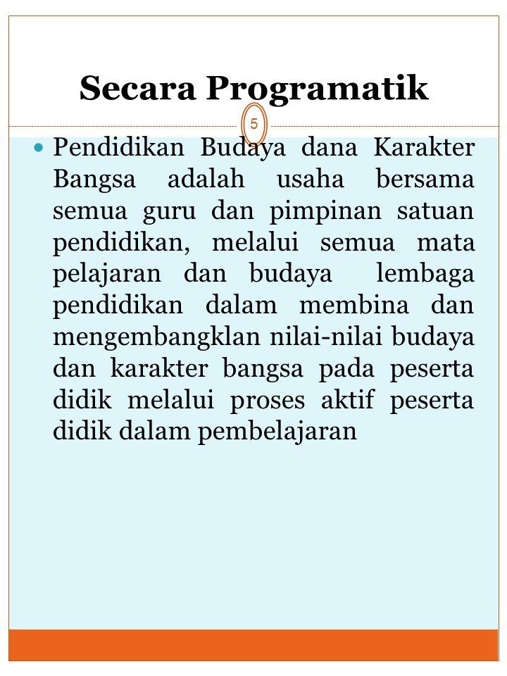 Secara Programatik 5 Pendidikan Budaya dana Karakter Bangsa adalah usaha bersama semua guru dan pimpinan satuan pendidikan, melalui semua mata pelajar