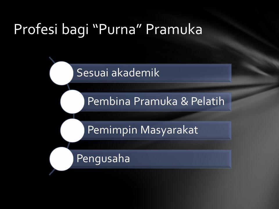 """Profesi bagi """"Purna"""" Pramuka Sesuai akademik Pembina Pramuka & Pelatih Pemimpin Masyarakat Pengusaha"""