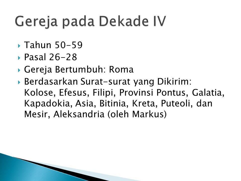  Tahun 50-59  Pasal 26-28  Gereja Bertumbuh: Roma  Berdasarkan Surat-surat yang Dikirim: Kolose, Efesus, Filipi, Provinsi Pontus, Galatia, Kapadok