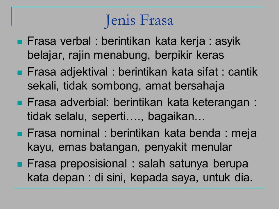 FRASA Definisi : Gabungan kata yang tidak melebihi batas fungsi. Ciri : 1. nonpredikatif : bangsa Indonesia, ≠ belajar bahasa 2. proses pemaknaannya b