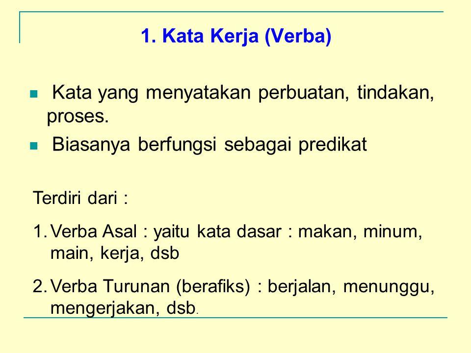 3. KATA : satuan bentuk terkecil (dari kalimat) yang dapat berdiri sendiri dan mempunyai makna. Pengelompokan kata menurut Tata Bahasa Baku Bahasa Ind