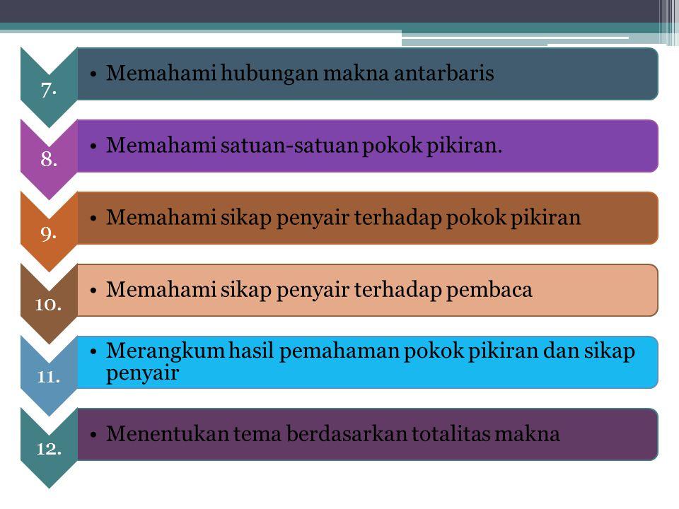 7. Memahami hubungan makna antarbaris 8. Memahami satuan-satuan pokok pikiran. 9. Memahami sikap penyair terhadap pokok pikiran 10. Memahami sikap pen