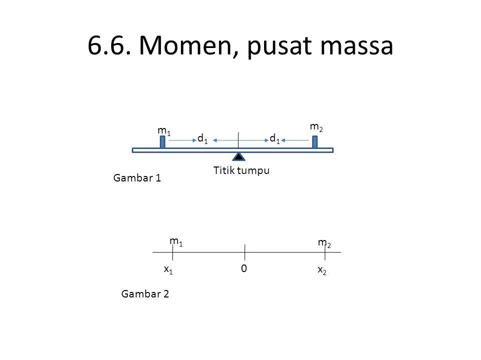 6.6. Momen, pusat massa d1d1 d1d1 m2m2 m1m1 Titik tumpu Gambar 1 x1x1 x2x2 0 m2m2 m1m1 Gambar 2
