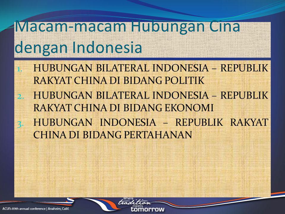 Macam-macam Hubungan Cina dengan Indonesia 1. HUBUNGAN BILATERAL INDONESIA – REPUBLIK RAKYAT CHINA DI BIDANG POLITIK 2. HUBUNGAN BILATERAL INDONESIA –