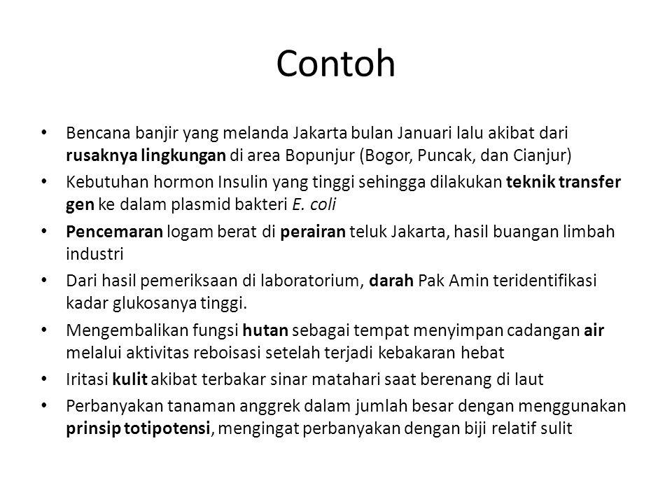 Contoh Bencana banjir yang melanda Jakarta bulan Januari lalu akibat dari rusaknya lingkungan di area Bopunjur (Bogor, Puncak, dan Cianjur) Kebutuhan hormon Insulin yang tinggi sehingga dilakukan teknik transfer gen ke dalam plasmid bakteri E.