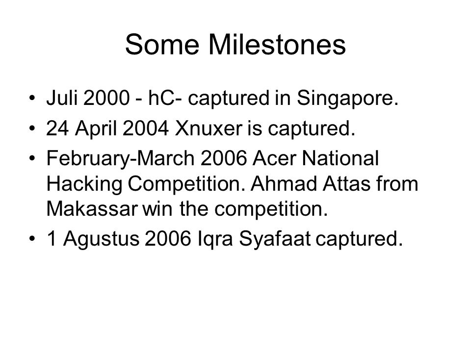 Some Milestones Juli 2000 - hC- captured in Singapore.