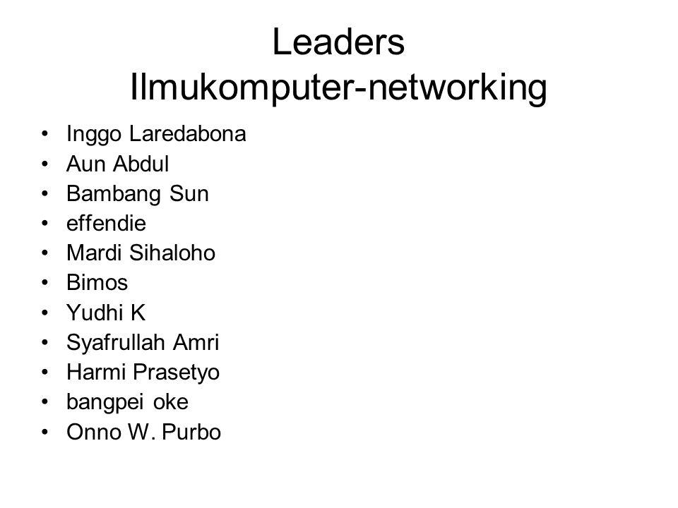 Leaders Ilmukomputer-networking Inggo Laredabona Aun Abdul Bambang Sun effendie Mardi Sihaloho Bimos Yudhi K Syafrullah Amri Harmi Prasetyo bangpei ok